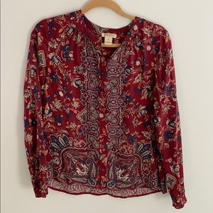 Lucky Brand Floral Blouse size small